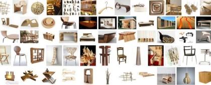 Panel d'objets décoratifs et de meubles design créés grâce au matériau bois